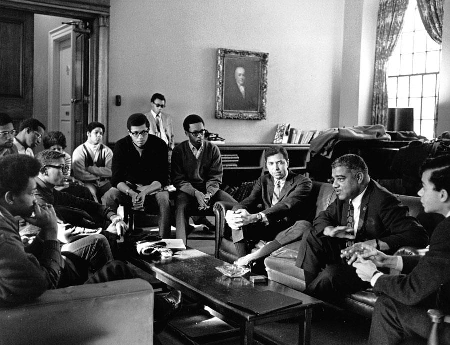 Members of the Harvard-Radcliffe Association of African and Afro-American Students (AFRO) Meeting with Civil Rights Activist Whitney Young, Jr. (1921-1971)