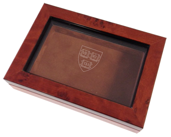 LR Paris Business card box - $72.88. Deep mahogany stain with glass topped lid and mirror inside