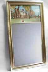 "Eglomise Large Mirror - $238.34. 14.5""x25.58"". Three images available: John Harvard, Johnston Gate and Mass Hall. Traditional and Antique style frames available gold or silver."