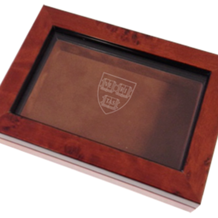 LR Paris Business card box - $72.41. Deep mahogany stain with glass topped lid and mirror inside