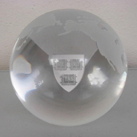 LR Paris Glass globe paperweight