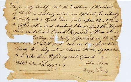 Letter of permission to form a new church in Jamaica Plain (1770). [bMS 500/4 (19)]