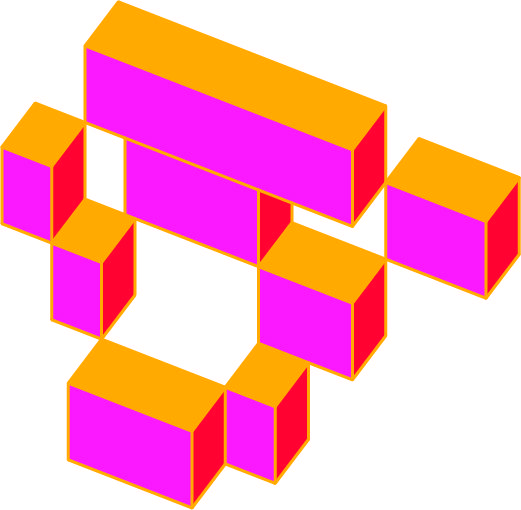 Graphic pink and orange cubes stacked on top of one another.