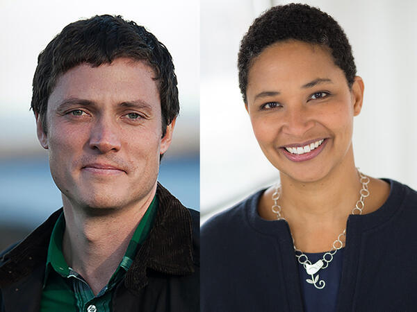 side by side photos of a smiling white man with short brown hair and a smiling Black woman with very short black hair