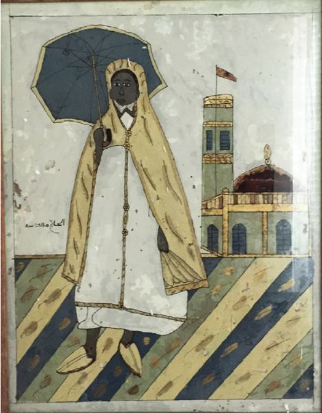 Glass painting of a Sheikh