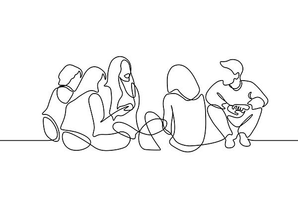 Line drawing of people sitting in a circle