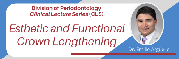 Header for the upcoming Clinical Lecture Series webinar, featuring Dr. Emilio Arguello