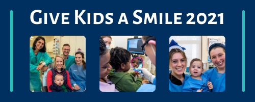 Give Kids a Smile Header including photos of children receiving care at previous years' events.