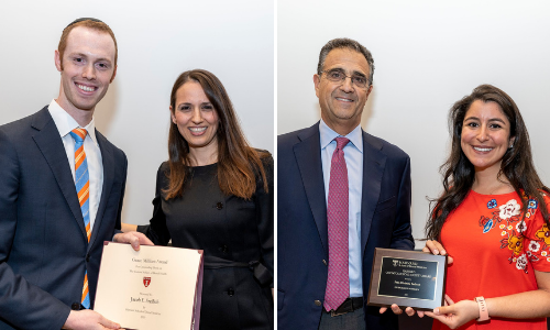 Two images of members of the Class of 2019 receiving awards at their Graduate Award Recognition Ceremony in May of 2019.