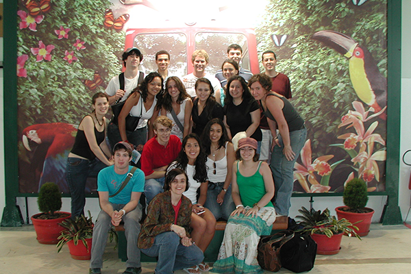 Clemence with students in Brazil