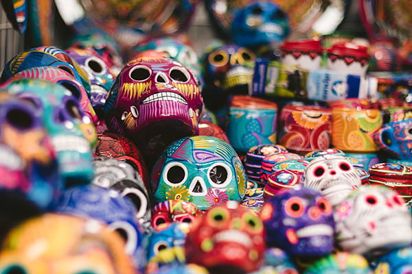 painted skulls in Mexico
