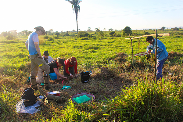 Students working in a field in Acre, Brazil