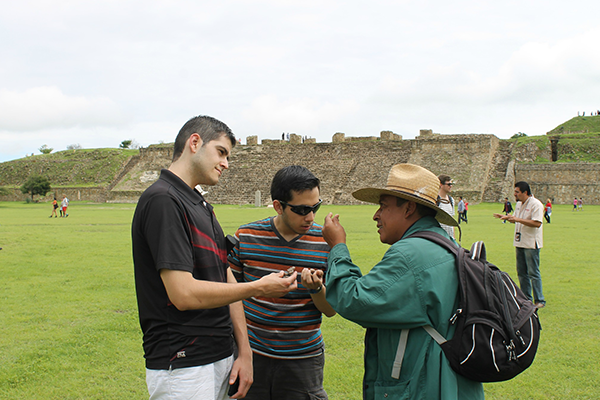 students participating in summer program at Monte Alban, Mexico