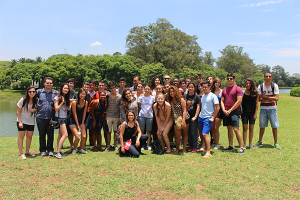 Students participating in a summer program in Brazil