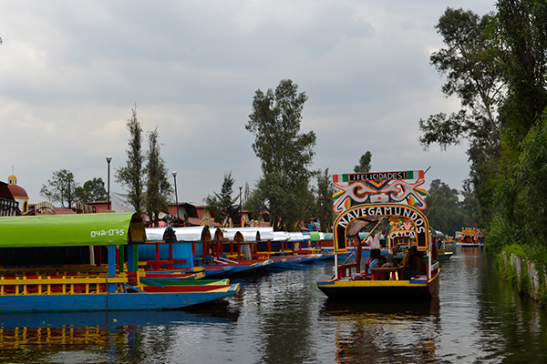 boat on the water in Xochimilco, Mexico