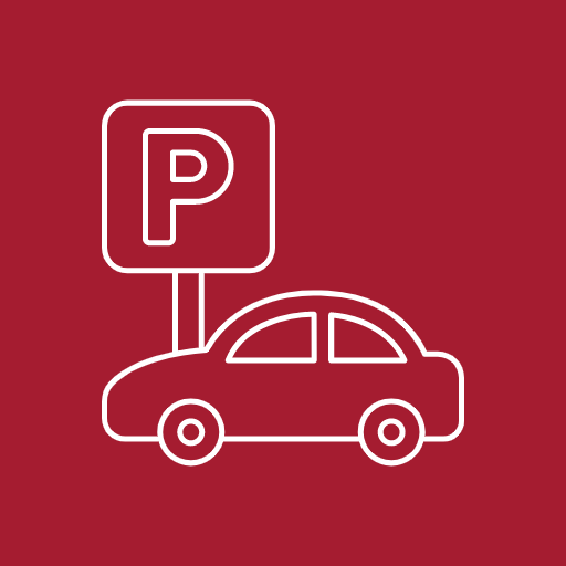 Car and parking sign