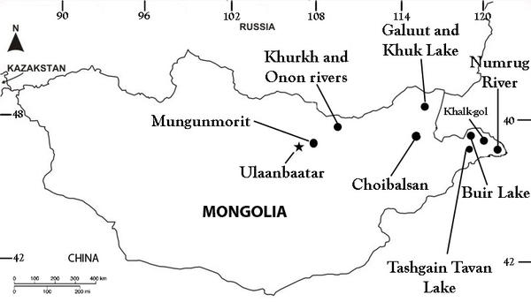 Map of collecting sites, Mongolia, 2012