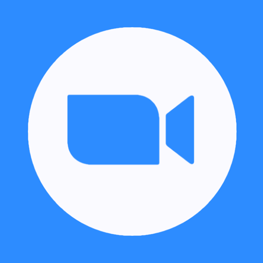 Zoom logo featuring a blue video camera on a white circle over a blue background