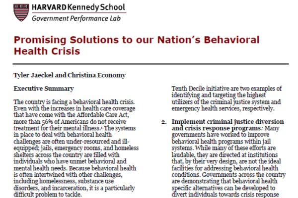 Promising Solutions to Our Nation's Behavioral Health Crisis