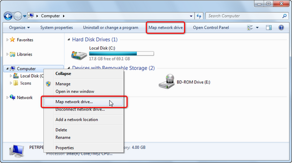 Mapping Windows network drive