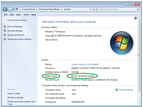 "Screenshot of ""System"" window with OS information highlighted."