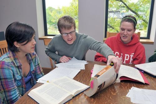 Students studying Greek in the library: Steve Gilbert