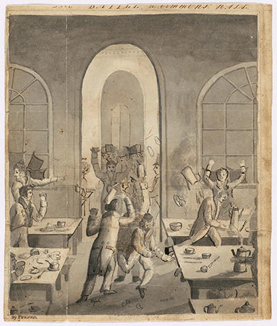 Battle in Commons Hall [drawing, 1819] by William Henry Furness, courtesy Harvard University Archives