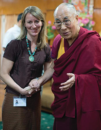 Susan Hayward, MDiv '07, with the Dalai Lama