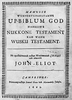 Title page of Johbn Eliot's Bible in Algonquin