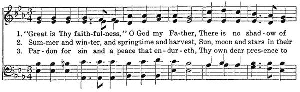 Opening lines of music for hymn