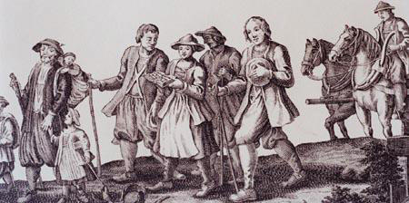 Detail of an illustration of the Salzburger Protestants walking following their expulsion, R.B.R. Broad. Media Box 1