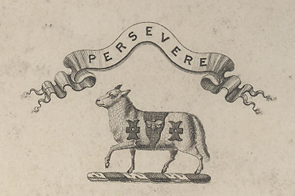 "A sheep with its left foreleg raised, below a banner with the inscription ""PERSEVERE."""