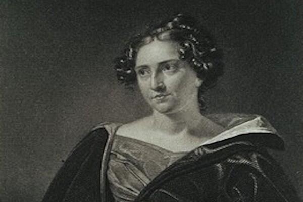 A portrait of Catharine Maria Sedgwick wearing a velvet dress.
