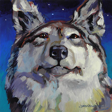 Painting of Gray Wolf.