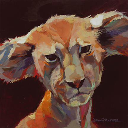 Painting of a lion cub.