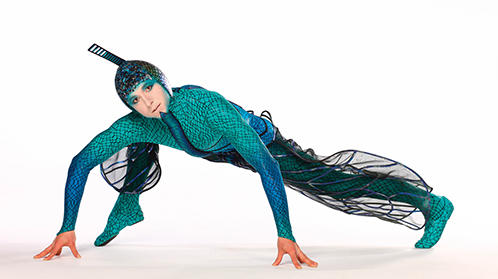 Photo of Cirque du Soleil performer in a dragonfly costume
