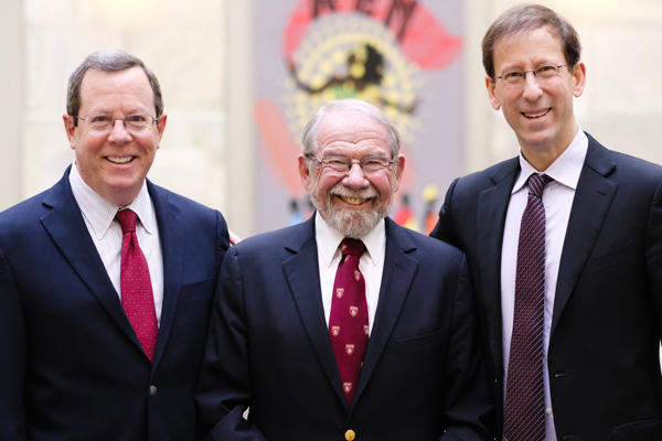 Left to right: Hundert, Thibault and Hirsch celebrate the new George E. Thibault Academy Professorship, established by the Josiah Macy Jr. Foundation. Image: Channing Johnson