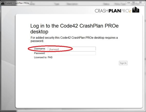 CrashPlan Windows Login