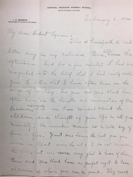Letter from I.A. Beddow to Hubert Lyman Clark