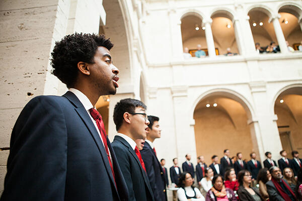Students singing in the Harvard Art Musuems