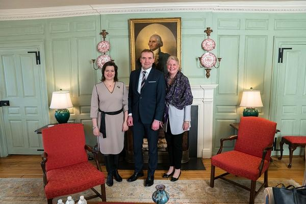 First Lady Eliza Reid, President Johannesson, and Margot Gill in the Wadsworth House Parlor