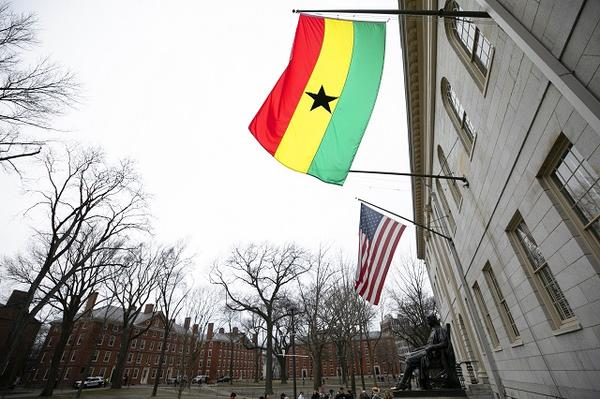 The flag of Ghana flies at University Hall, March 2019