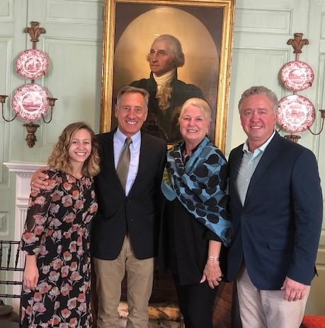 Governor Shumlin in the Wadsworth House parlor with Pauline Barr, Margot Gill, and Eric Andersen