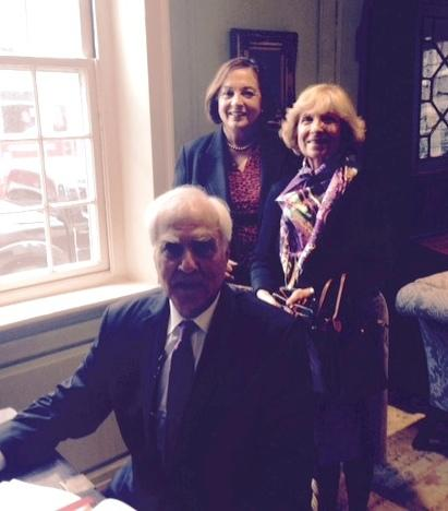 Dr. Simon Barakat, seated, with Jackie O'Neill and Mrs. Barakat, at Wadsworth House