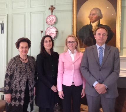 Ambassador Claudia Fritsche, Elaine Papoulias, Minister Aurelia Frick, and Mark Elliott in the Wadsworth House Parlor