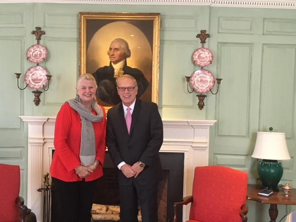 Ted Strickland and Margot Gill in the Wadsworth House Parlor