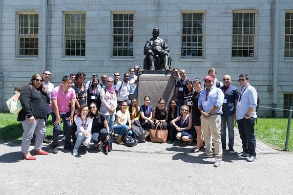 The Mason Fellows at the John Harvard statue