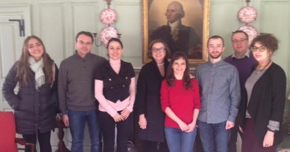 Visitors from the Center for the Study of New Media and Society in the Wadsworth House Parlor with Jackie O'Neill