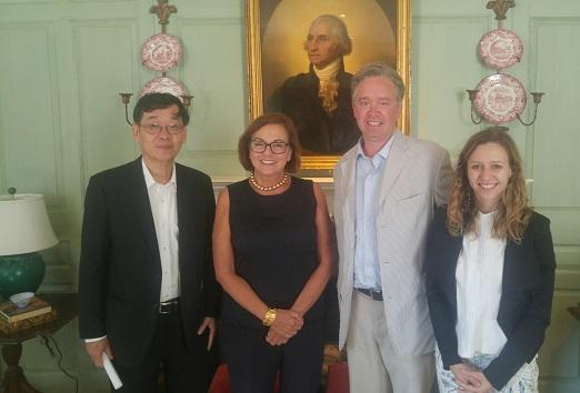 Dr. Chunharas, Jackie O'Neill, Eric Andersen, and Pauline Barr in the Wadsworth House parlor