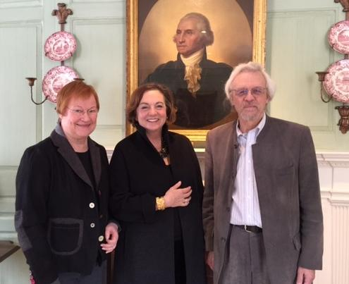 Jackie O'Neill, center, with Tarja Halonen and Pentti Arajarvi in the Wadsworth House Parlor